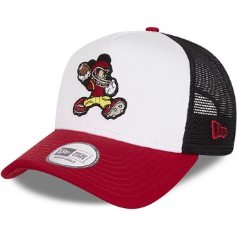 New Era Character Sports A Frame Mickey Mouse American Football Disney White, Black and Red Trucker Hat