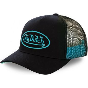 Von Dutch Cyan Logo NEO CYA Black Trucker Hat