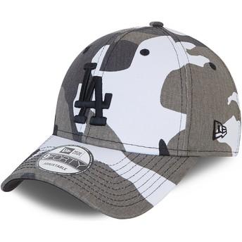New Era Curved Brim Black Logo 9FORTY Los Angeles Dodgers MLB Camouflage and Black Adjustable Cap