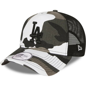 New Era Black Logo A Frame Los Angeles Dodgers MLB Camouflage and Black Trucker Hat