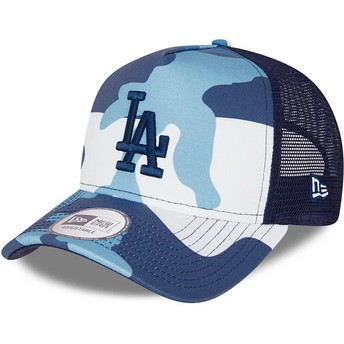 New Era Blue Logo A Frame Los Angeles Dodgers MLB Camouflage and Blue Trucker Hat