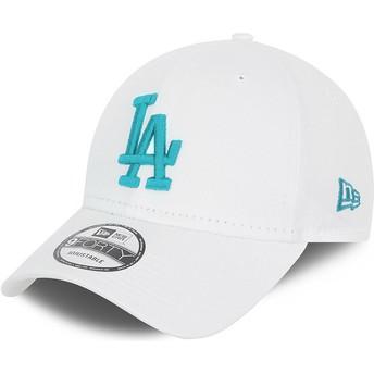 New Era Curved Brim Blue Logo 9FORTY League Essential Los Angeles Dodgers MLB White Adjustable Cap
