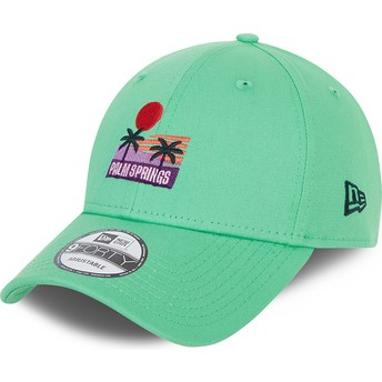 New Era Curved Brim 9FORTY Summer Palm Springs Green Adjustable Cap
