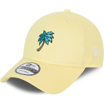New Era Curved Brim 9FORTY Sports Palm Tree Yellow Adjustable Cap