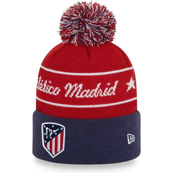 New Era Bobble Knit Atlético Madrid LFP Red and Blue Beanie with Pompom