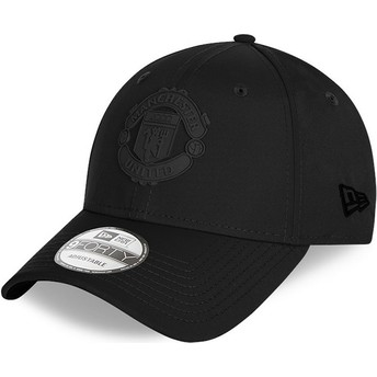 New Era Curved Brim Black Logo 9FORTY Rubber Patch Manchester United Football Club Black Adjustable Cap
