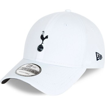 New Era Curved Brim 9FORTY Rubber Patch Tottenham Hotspur Football Club White Adjustable Cap