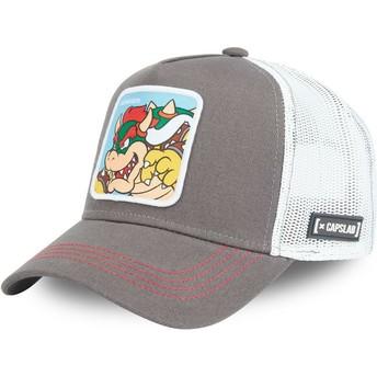 Capslab Bowser BOW Super Mario Bros. Grey Trucker Hat