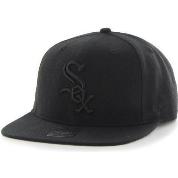 47-brand-flat-brim-black-logo-chicago-white-sox-mlb-sure-shot-black-snapback-cap