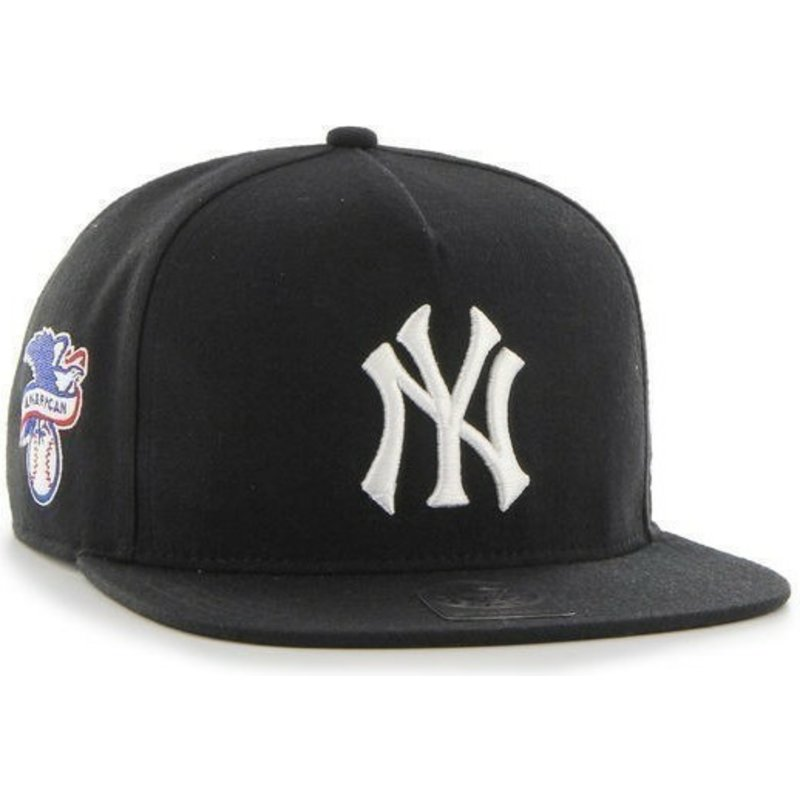 47-brand-flat-brim-new-york-yankees-mlb-sure-shot-black-snapback-cap