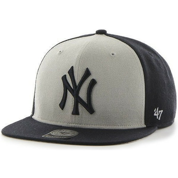 47-brand-flat-brim-new-york-yankees-mlb-sure-shot-black-and-white-snapback-cap