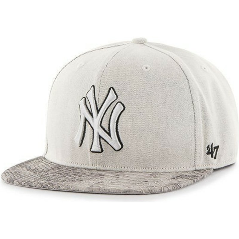 47-brand-flat-brim-new-york-yankees-mlb-grey-snapback-cap