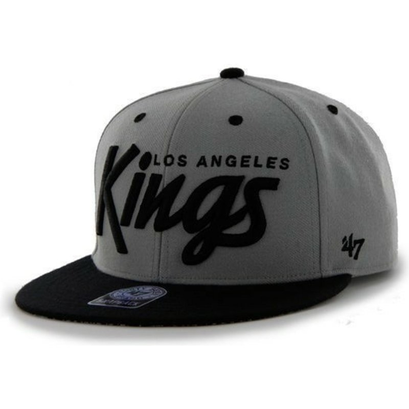 47-brand-flat-brim-script-logo-los-angeles-kings-nhl-dark-grey-snapback-cap