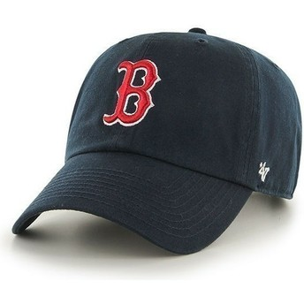 47 Brand Curved Brim Boston Red Sox MLB Clean Up Navy Blue Cap