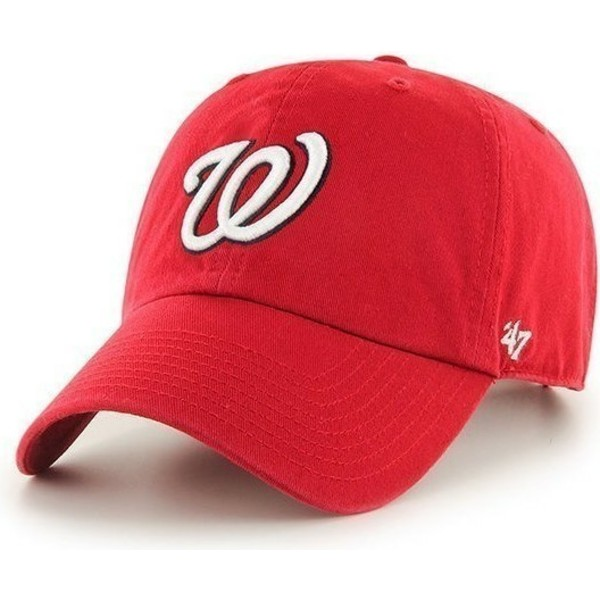 47-brand-curved-brim-washington-nationals-mlb-clean-up-red-cap
