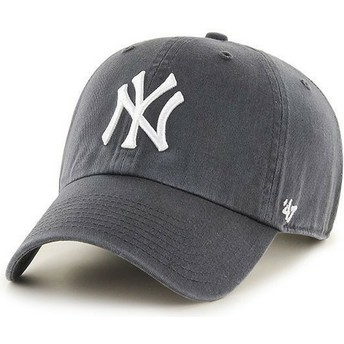 47 Brand Curved Brim Dark GreyNew York Yankees MLB Clean Up Grey Cap