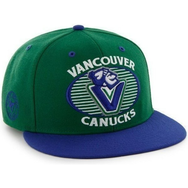 47-brand-flat-brim-vancouver-canucks-nhl-green-and-blue-snapback-cap