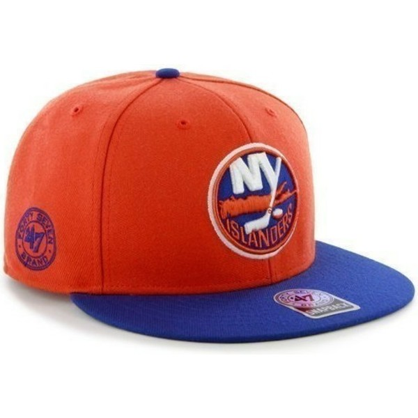 47-brand-flat-brim-new-york-islanders-nhl-orange-and-blue-snapback-cap