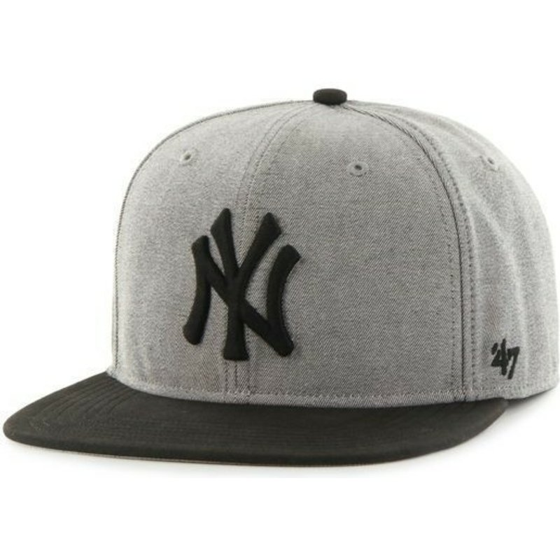 47-brand-flat-brim-mlb-new-york-yankees-grey-snapback-cap