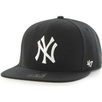 47 Brand Flat Brim MLB New York Yankees Smooth Black Snapback Cap