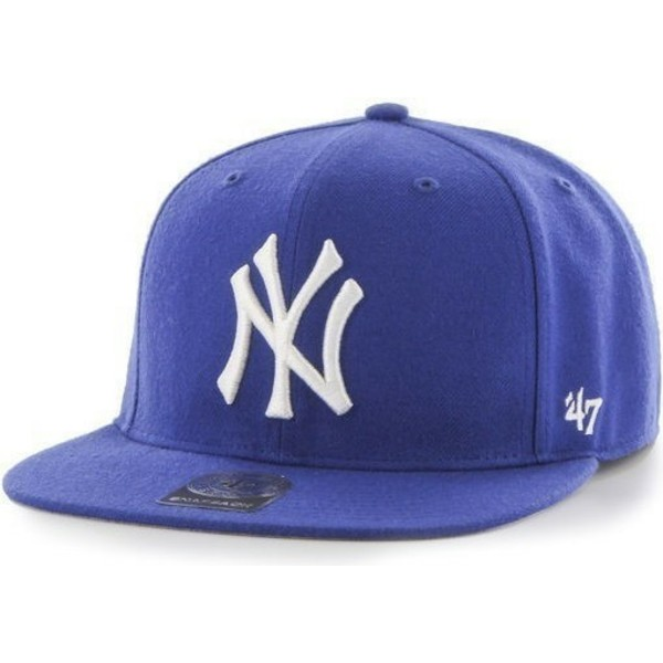 47-brand-flat-brim-mlb-new-york-yankees-smooth-blue-snapback-cap