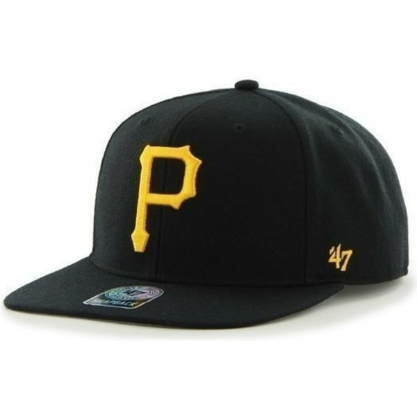 47-brand-flat-brim-side-logo-mlb-pittsburgh-pirates-smooth-black-snapback-cap