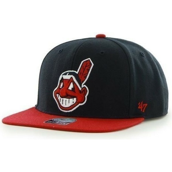 47-brand-flat-brim-old-logo-side-logo-mlb-cleveland-indians-smooth-navy-blue-snapback-cap