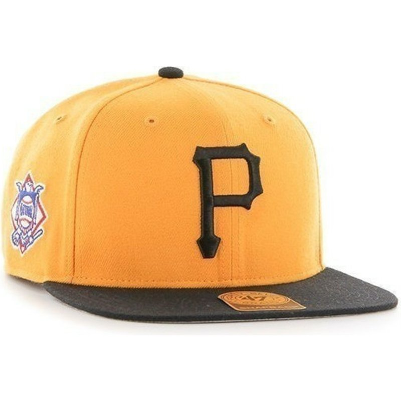 47-brand-flat-brim-side-logo-mlb-pittsburgh-pirates-smooth-yellow-snapback-cap