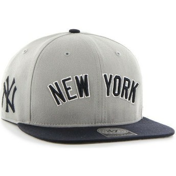 47 Brand Flat Brim Side Logo MLB New York Yankees Grey Snapback Cap