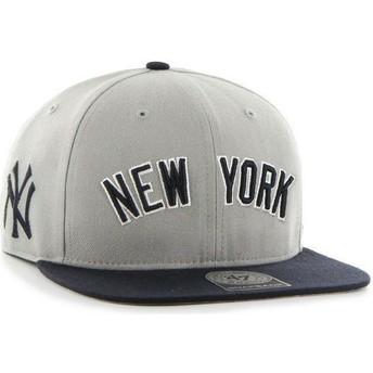 47 Brand Flat Brim Side Logo MLB New York Yankees Grey Snapback Cap