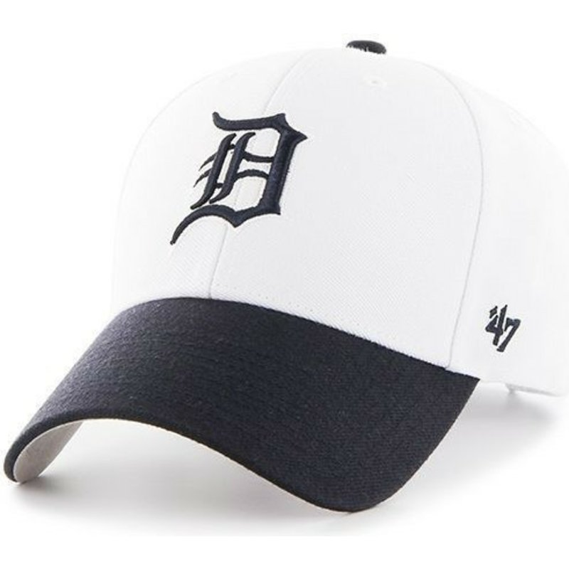47-brand-curved-brim-mlb-detroit-tigers-white-cap-with-navy-blue-visor