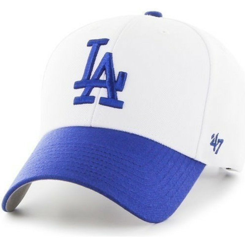 47-brand-curved-brim-mlb-los-angeles-dodgers-white-cap-with-light-blue-visor