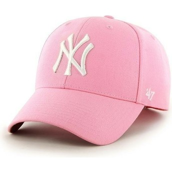 47 Brand Curved Brim MLB New York Yankees Smooth Pink Cap