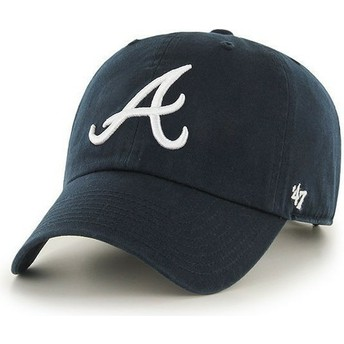 47 Brand Curved Brim Front Logo MLB Atlanta Braves Navy Blue Cap