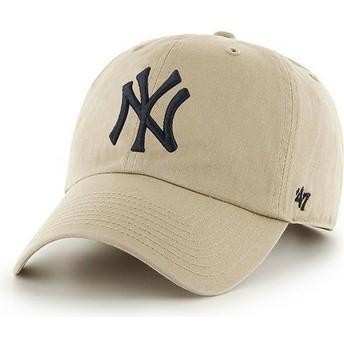47 Brand Curved Brim Large Front Logo MLB New York Yankees Beige Cap