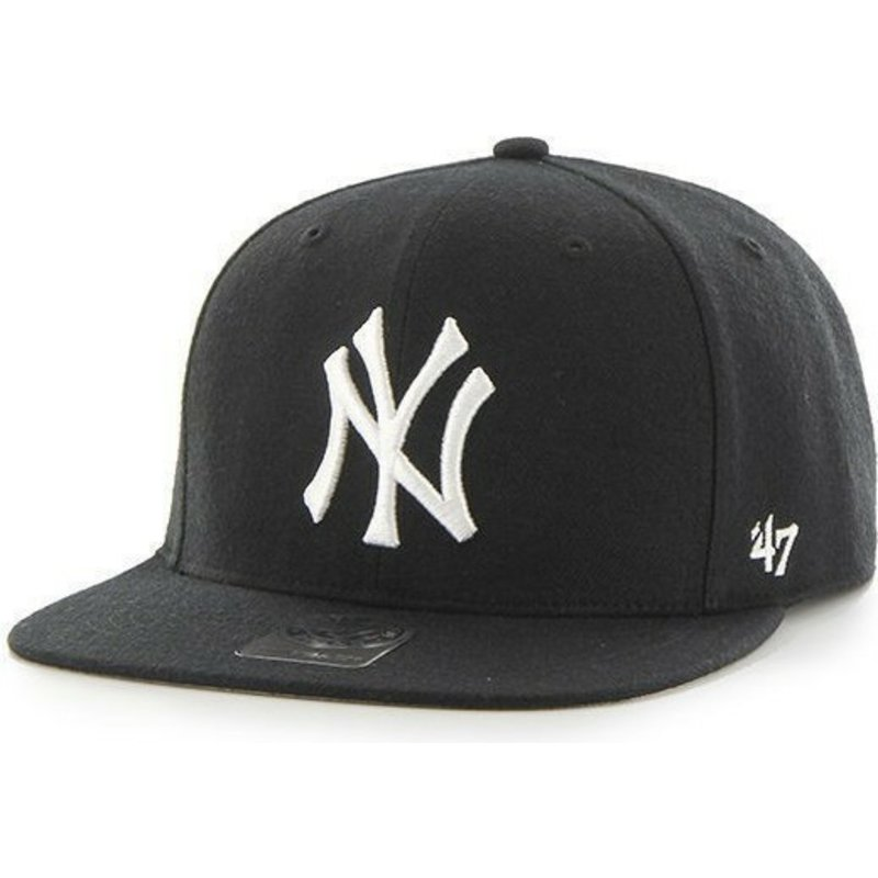 89f6b492 47 Brand Flat Brim Youth New York Yankees MLB Black Snapback Cap ...