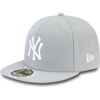 New Era Flat Brim White Logoouth 59FIFTY Essential New York Yankees MLB Grey Fitted Cap
