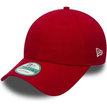 New Era Curved Brim 9FORTY Basic Flag Red Adjustable Cap