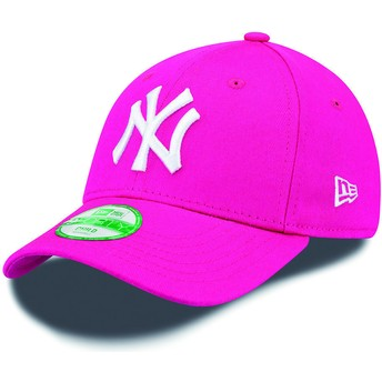 New Era Curved Brim Youth 9FORTY Essential New York Yankees MLB Pink Adjustable Cap
